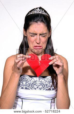 Sad woman broken heart,sad bride portrait.Crying woman.