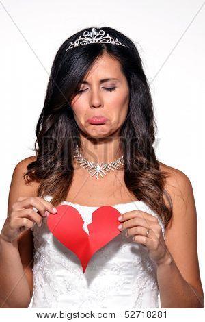 Sad woman broken heart,sad bride portrait.Breaking heart.