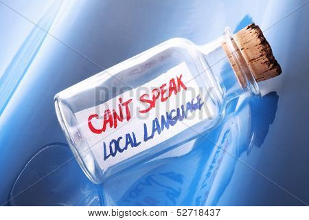 Language learning concept with a message in a bottle