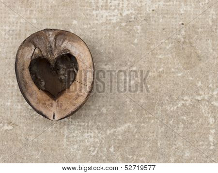 wooden heart on the grundge background