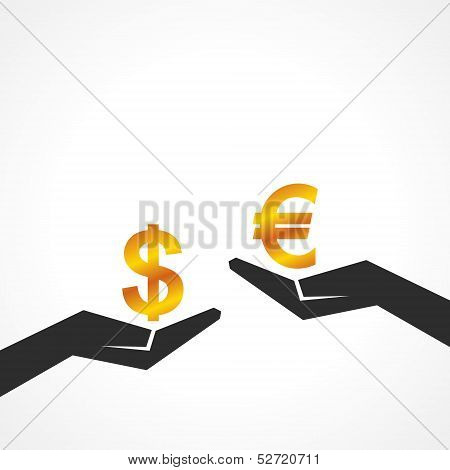 Hand hold dollar and euro symbol to compare their value stock vector