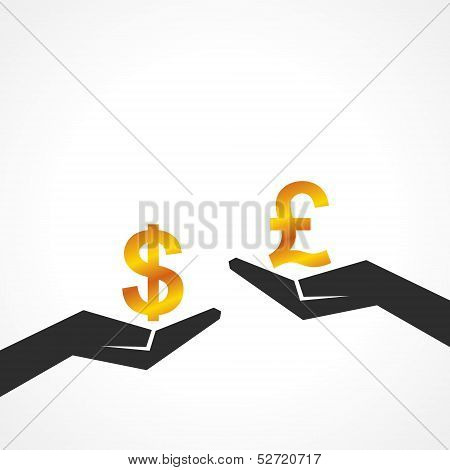 Hand hold dollar and pound symbol to compare their value stock vector