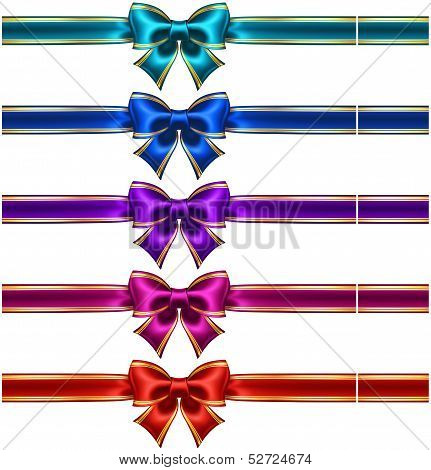 Set Of Silk Bows With Ribbons And Golden Edging