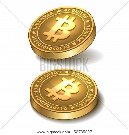 Bitcoins isolated on white