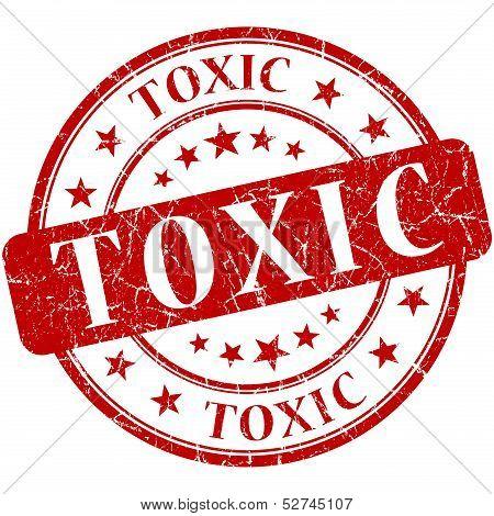 Toxic Grunge Round Red Stamp