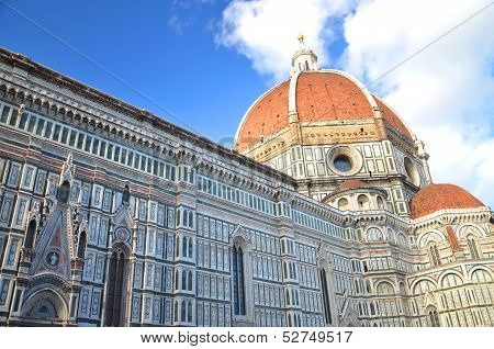 Impressive famous marble cathedral Santa Maria del Fiore in Florence, Italy