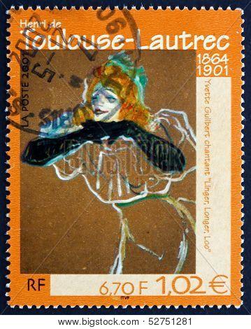 Postage Stamp France 2001 Yvette Guilbert Singing Linger, Longer