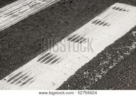 Abs Emergency Braking Tracks On The Pedestrian Crossing