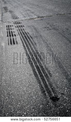 Emergency Braking Tracks On The Highway
