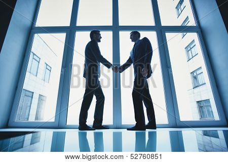 Silhouettes of two successful businessmen handshaking after striking deal poster