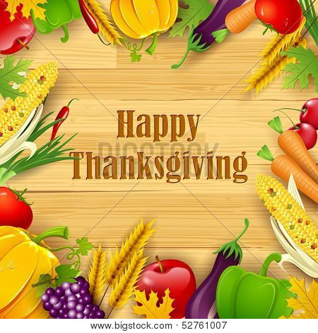 illustration of Happy Thanksgiving background with fruit and vegetable frame