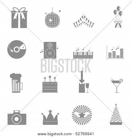 Party And Celebration Icons Set On White Background