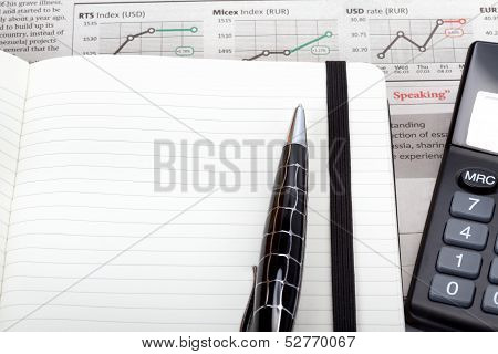 Business Photo: Open Note With Pen, Calculator And Newspaper (stock Index Overview)