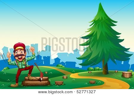 Illustration of a woodman chopping woods at the hilltop near the pine tree