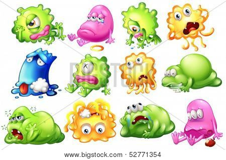 Illustration of the sad and dying monsters on a white background