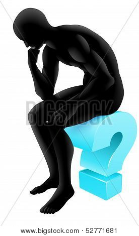 Thinking On Question Mark Silhouette