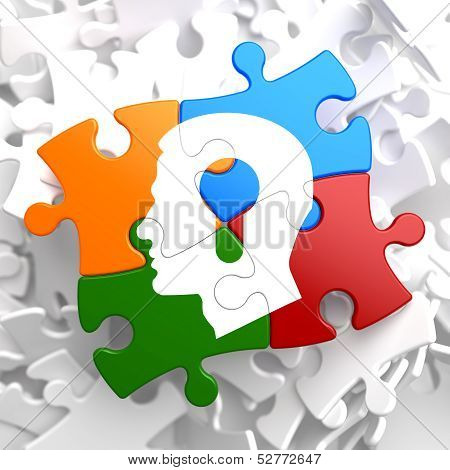 Psychological Concept on Multicolor Puzzle.