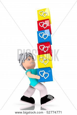 Two Hearts Stack  Carried By A Cute Character
