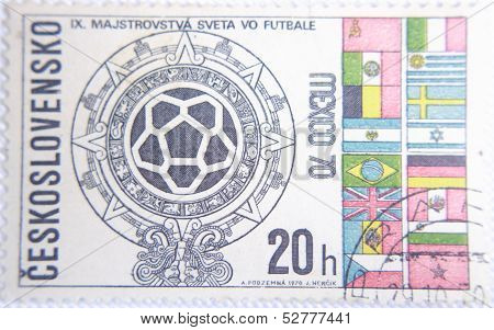 CESKOSLOVENSKO - CIRCA 1970: stamp printed by Slovakia shows flags all countries World Championship
