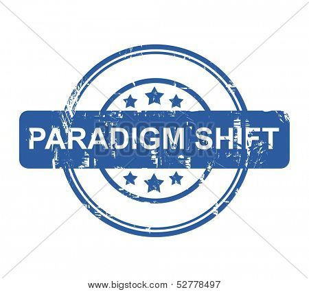 Paradigm Shift business stamp with stars isolated on a white background.