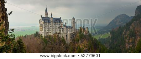 Panoramic view of Neuschwanstein castle in Bavarian alps, Germany