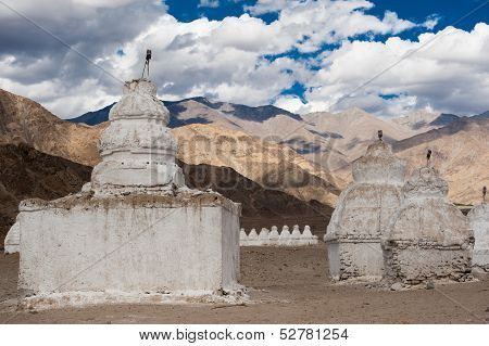 Buddhist stupa over Himalaya mountains. India