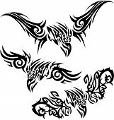 Three tattoos with aggressive birds of prey. poster
