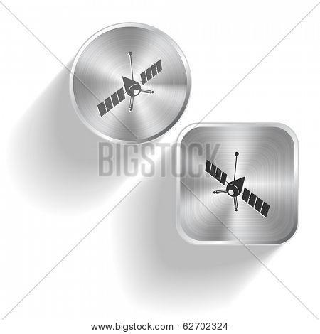 Spaceship. Raster set steel buttons