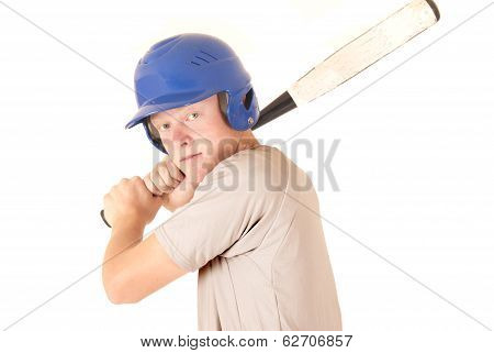 Caucasian Baseball Player Focused Expression Wearing Helmet