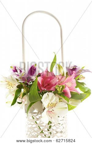 Beautiful alstroemeria  flowers in basket, isolated on white