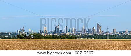 Skyline Of Frankfurt With Fields In Foreground