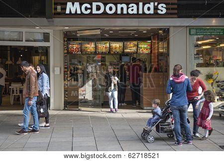 STUTTGART, GERMANY - APRIL 01, 2014: McDonalds restaurant. McDonald's Corporation is the world's largest chain of hamburger fast food restaurants