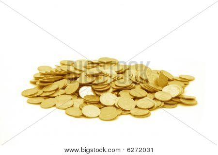 Small group of the scattered coins isolated poster