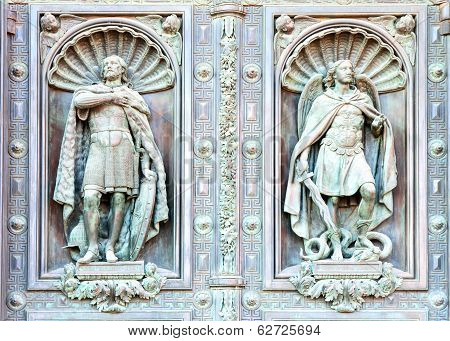 Fragment of a door of facade Isaak Cathedral in St. Petersburg Russia. The sculpture in the niche of the front doors. I.P.Vitali sculptor (1794-1855) poster