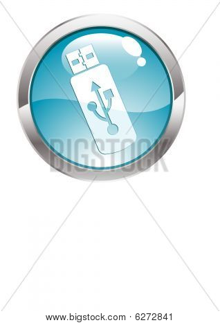 Gloss Button with USB Flash Drive