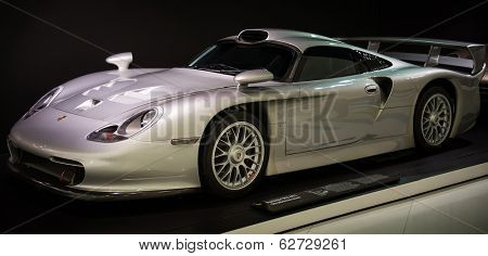 STUTTGART, GERMANY - CIRCA APRIL, 2014: Porsche Museum. PORSHE 911 GT1 street version (1997)
