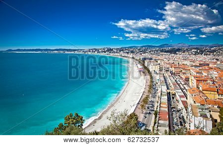 Panoramic view of Nice coastline and beach with blue sky, France. poster