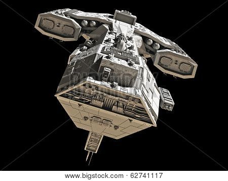 Spaceship on black - front view