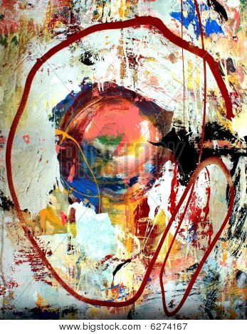 poster of A fluid mixed media background painting with a circle.