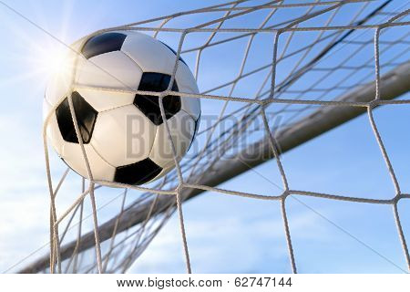 Football Goal, With Sun And Blue Sky