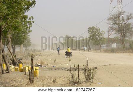 dust storm in Bor, South Sudan