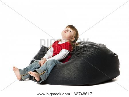 Little Girl in a bean Bag
