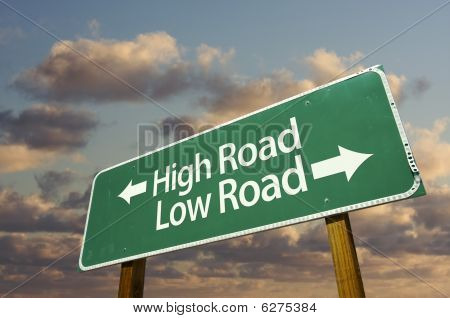 High And Low Road Green Road Sign