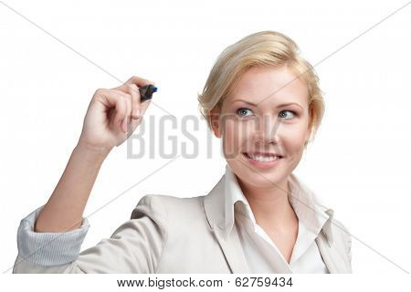 Business woman writing on the invisible screen with marker, isolated on white. Success concept