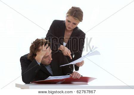Overworked Employee And Exigent Leader