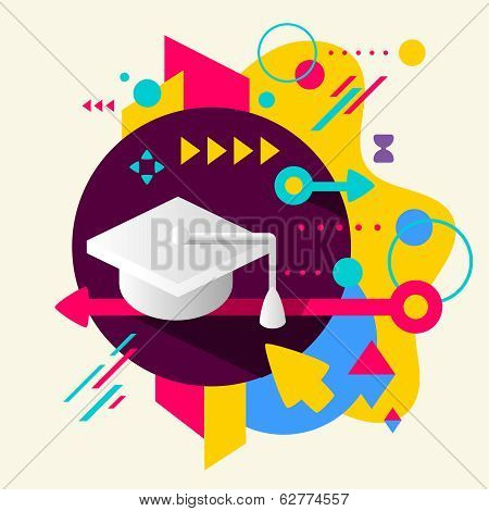 Academic hat on abstract colorful spotted background with different elements. Flat design for the web print banner advertising. poster