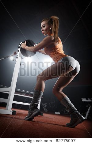 Girl training in the gym Bar Bench Press poster