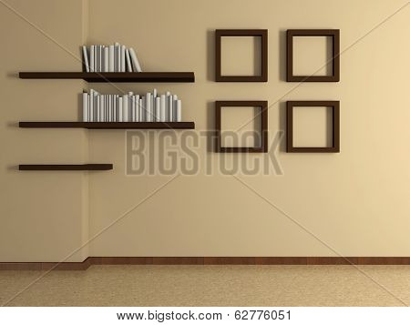 Modern Home Interior With Four Paintings And Book Shelves. 3D.