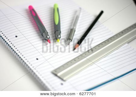 Notepad Pens Pencil Ruler Small Depth Of Field