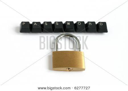 Password Written With Keyboard Keys With Padlock